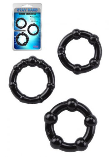 Stay Hard Cockrings Black 3-pack