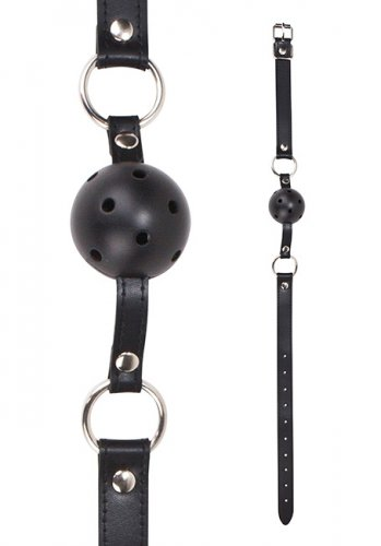 Ouch! Ball Gag with leather straps - Black