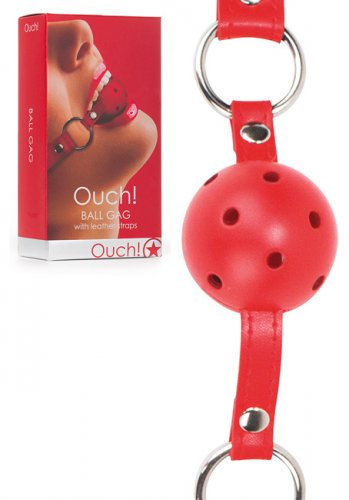 Ouch! Ball Gag with leather straps - Red