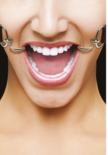 Ouch! Hook Gag with leather straps Black