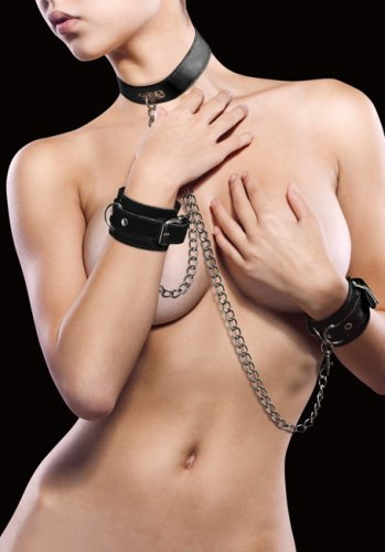 Leather Collar and Handcuffs Black