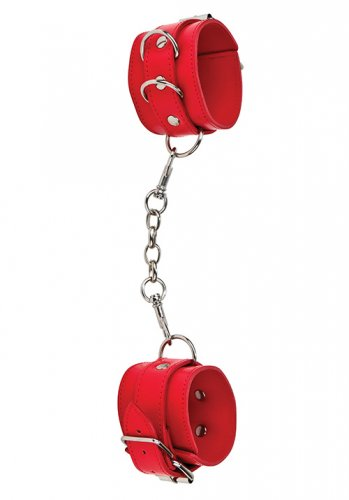 Premium Bonded Leather Cuffs Red